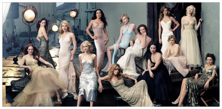 (left to right) Hollywood actresses Julianne MOORE, Jennifer CONNELLY, Gwyneth PALTROW, Naomi WATTS, Salma HAYEK, Jennifer ANISTON, Kirsten DUNST, Diane LANE, Lucy LIU, Hilary SWANK, Alison LOHMAN, Scarlett JOHANSSON, and Maggie GYLLENHAAL, on Stage II of the Culver Studios, Culver City, California, © Annie LEIBOVITZ (CONTACT PRESS IMAGES)
