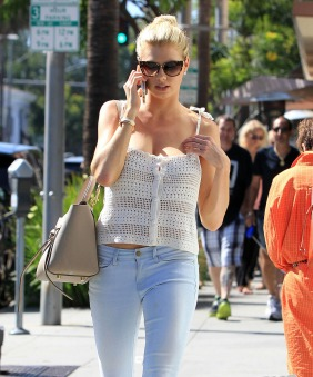 51810796 Model Charlotte McKinney chats on her phone while out and about in Beverly Hills, California on July 28, 2015. Charlotte was recently called 'the next Kate Upton' after she starred in a Carl's Jr. ad in January. FameFlynet, Inc - Beverly Hills, CA, USA - +1 (818) 307-4813